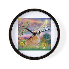 Cloud Angel Welsh Corgi Wall Clock