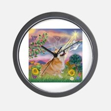 Cloud Angel Welsh Corgi Wall Clock