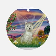 Cloud Angel / Westie Ornament (Round)