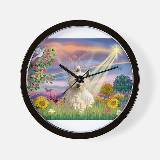 Cloud Angel & Westie Wall Clock