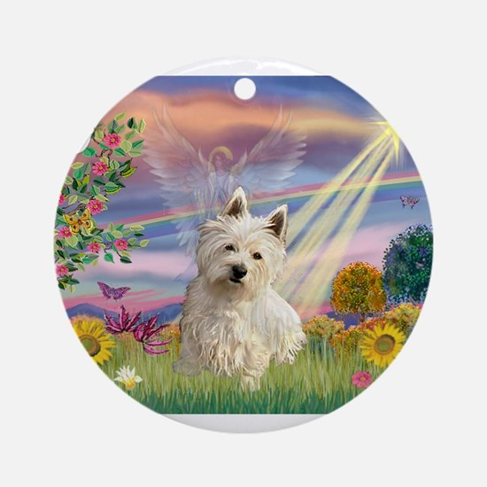 Cloud Angel & Westie Ornament (Round)