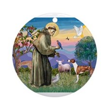 St Francis / Whippet Ornament (Round)