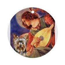 Mandolin Angel / Yorkie (#17) Ornament (Round)