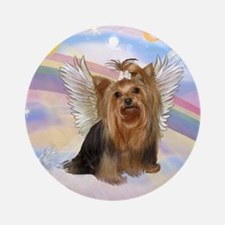 Yorkie Angel in Clouds Ornament (Round)