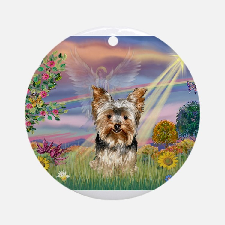 Cloud Angel & Yorkie Ornament (Round)