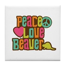 Peace Love Beaver Tile Coaster