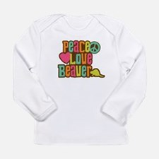 Peace Love Beaver Long Sleeve Infant T-Shirt