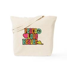 Peace Love Beaver Tote Bag