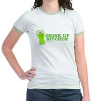 St Patrick's Drink Up Bitches Jr. Ringer T-Shirt