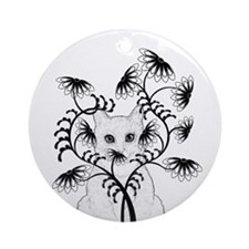 White Kitty with Zinnias Ornament (Round)