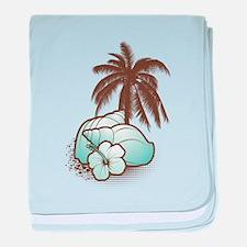 Seashells and palmtree 1 baby blanket
