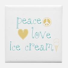 Peace, Love and Ice Cream Tile Coaster