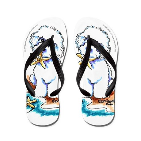 Bichon Frise Beach Flip Flops