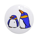 Cute Penguins Cartoon Ornament (Round)