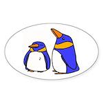 Cute Penguins Cartoon Oval Sticker