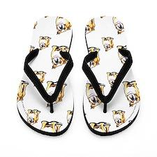 Fawn White Bulldog Flip Flops