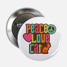 """Peace Love Cat 2.25"""" Button"""
