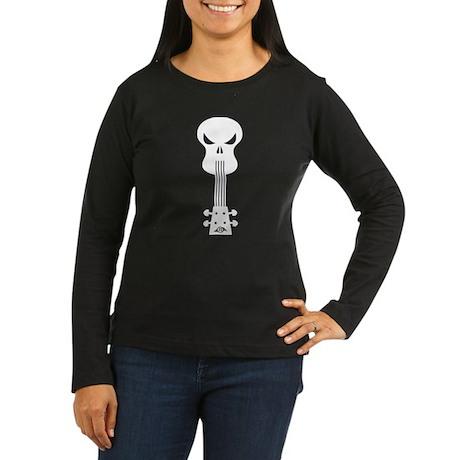 Skull Ukulele Women's Long Sleeve Dark T-Shirt