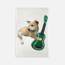 Dog Playing Ukulele Rectangle Magnet