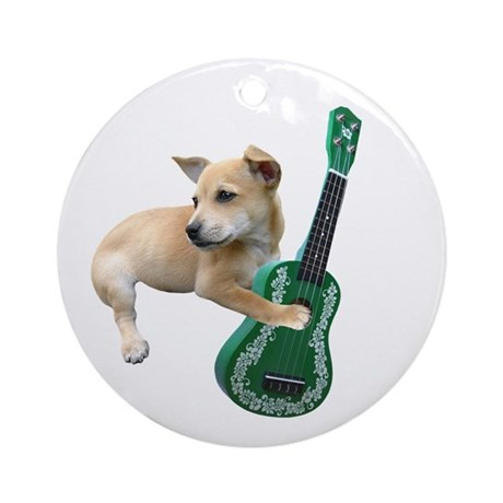 Dog Playing Ukulele Ornament (Round)