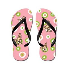 Smooth Tan Chihuahua Pink Flip Flops