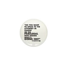 Paralegal In Charge [Text Bla Mini Button (10 pack