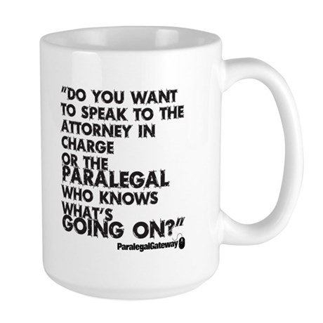 Paralegal In Charge [Text Bla Large Mug