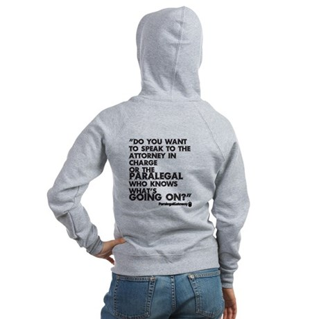 Paralegal In Charge [Text Bla Women's Zip Hoodie
