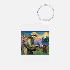 St Francis / Affenpinscher Keychains