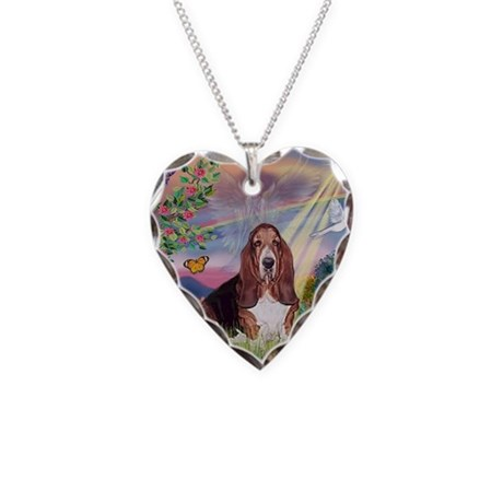 Cloud Angel & Basset Necklace Heart Charm