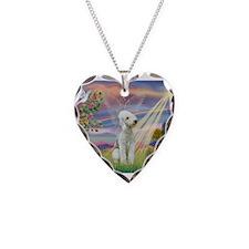 Cloud Angel Bedlington Necklace Heart Charm