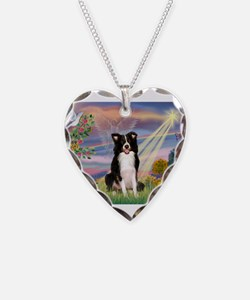Cloud Angel /Border Collie Necklace Heart Charm