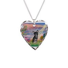 Cloud Angel / Chihuahua (bl) Necklace Heart Charm