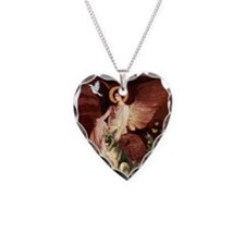 Seated Angel / German Shepher Necklace Heart Charm