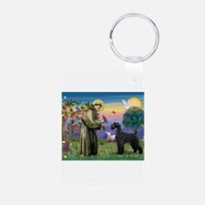 St Francis /G Schnauzer(blk) Keychains