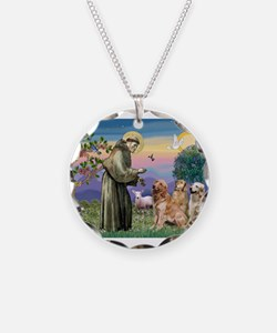 St Francis / 3 Goldens Necklace Circle Charm