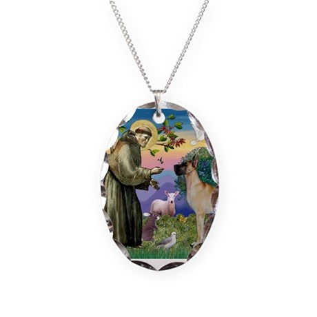 Saint Francis' Great Dane Necklace Oval Charm