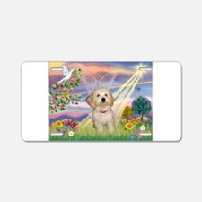 Cloud Angel /Havanese pup Aluminum License Plate