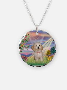 Cloud Angel /Havanese pup Necklace