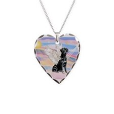 Black Lab Angel Necklace Heart Charm