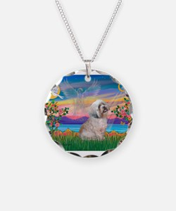 Guardian / Lhasa Apso Necklace Circle Charm