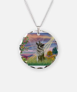 Cloud Angel Elkhound Necklace