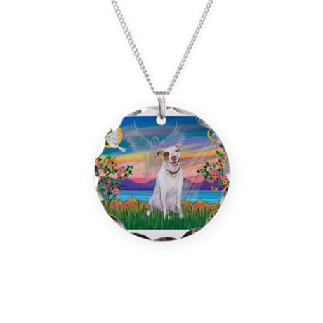 Guardian Angel / Pit Bull Necklace Circle Charm