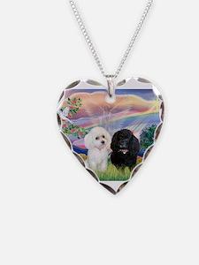 Cloud Angel / Poodle pair Necklace
