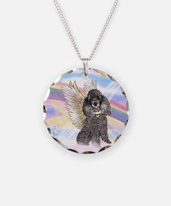 Silver Poodle Angel Necklace