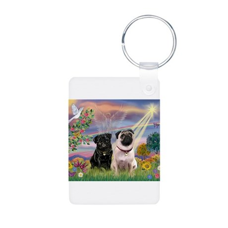 Cloud Angel & 2 Pugs Aluminum Photo Keychain