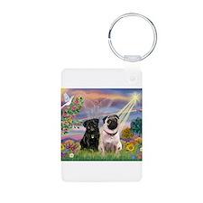 Cloud Angel & 2 Pugs Keychains