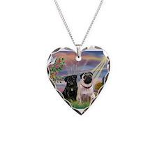 Cloud Angel & 2 Pugs Necklace Heart Charm
