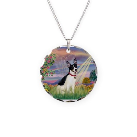 Cloud Angel / Rat Terrier Necklace Circle Charm