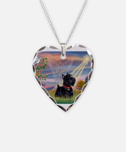 Cloud Angel & Scotty Necklace Heart Charm
